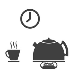 Set of three icons of tea drinking - a kettle on vector