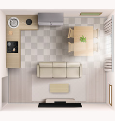 Studio room interior top view sofa tv and table vector