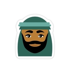 Stylish paper sticker on white background Arab men vector
