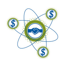 successful business creative logo handshake sign vector image