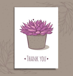 succulent plant in concrete pot hand drawn vector image