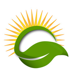 sun and leaf wellness life and health logo icon vector image