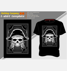 t shirt template with skull piratehand drawing vector image