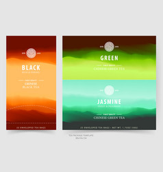 Tea package design template with natural landscape vector