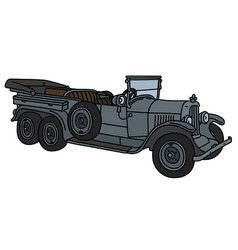 The vintage gray long open military car vector