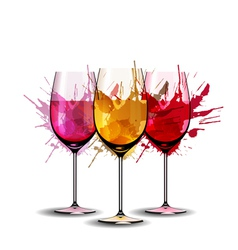 Three wine glasses with splashes vector