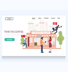 time to coffee website landing page design vector image