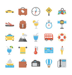 Travel elements icon set vector