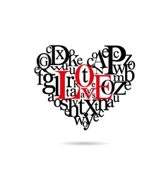 Typography heart silhouette vector