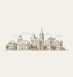 urban landscape sketch town city cityscape vector image