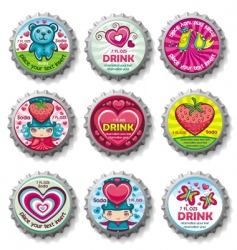 valentines bottle tops vector image