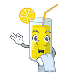 Waiter lemon juice glass on character table vector
