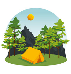 Wanderlust with trees and mountains to camp vector