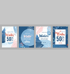 winter sale poster set background winter-time vector image
