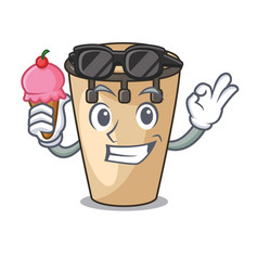 With ice cream conga character cartoon style vector