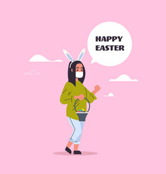 woman wear bunny ears and face mask to prevent vector image