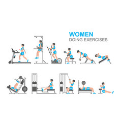 Women doing exercises vector
