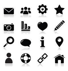 Wwebsite menu navigation black shiny icons vector