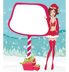beautiful pin-up girl in Christmas inspired vector image