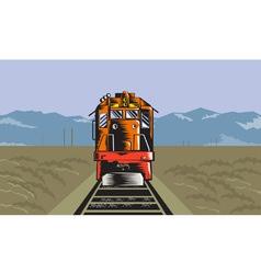 Diesel Train Front Rear Woodcut Retro vector image vector image