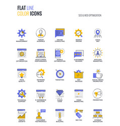 flat line multicolor icons design-seo and web vector image vector image