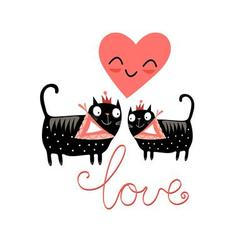 love cats and heart on a blue background vector image vector image