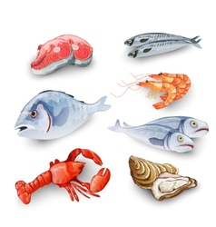 Seafood Products Set vector image vector image
