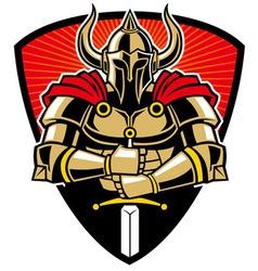 warrior in armor with sword vector image vector image