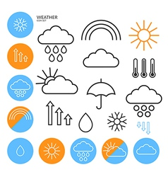 Weather Icon Set Outline vector image vector image