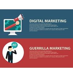 Advertising design concept set media and guerrilla vector image vector image