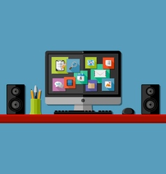 Computer workplace vector image