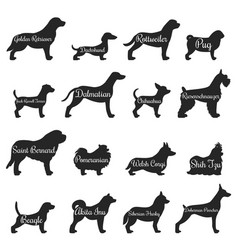 dogs profile silhouette icon set vector image