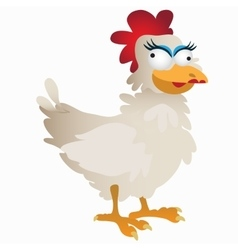 Funny fancy white rooster cartoon character vector image