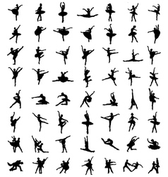 silhouettes of ballerinas vector image