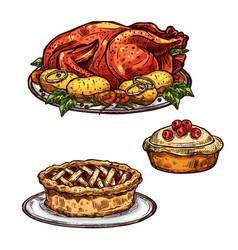 Thanksgiving day turkey pie dinner sketch food vector