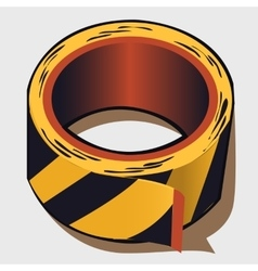 Adhesive tape in black and yellow stripes vector