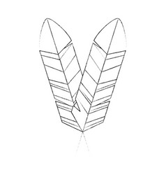 bird feather symbol vector image vector image