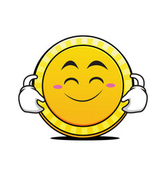 cute smile coin cartoon character vector image vector image