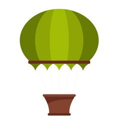 Green hot air balloon icon isolated vector