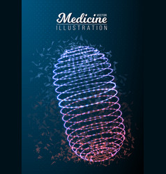 medicine pill polygonal wireframe pill vector image vector image