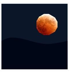 Polygon orange moon vector image