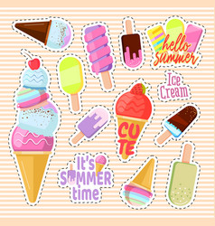 set of cute ice cream in the form of a retro vector image