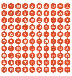 100 kids icons hexagon orange vector