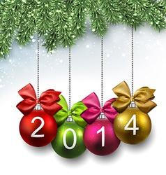 2014 christmas balls on fir branches vector image
