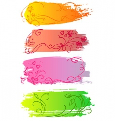 flower and heart banners vector image vector image