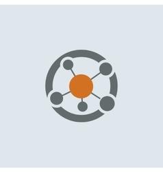 Gray-orange Network Round Icon vector image