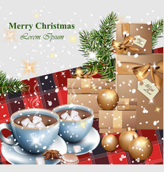 merry christmas card with gifts and hot chocolate vector image