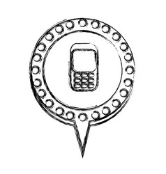 Monochrome sketch with cell phone in circular vector