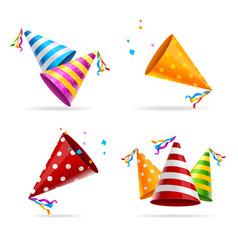 party hat color set vector image