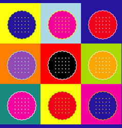 round biscuit sign pop-art style colorful vector image